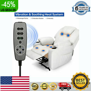 New Leather Leisure Sofa Power Lift Recliner Chair Electric Vibration Massage