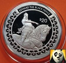 1997 Liberia $20 dólares conquistador Edward el Príncipe Negro Plata Prueba Moneda