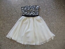 REVIEW AUSTRALIA  DESIGNER DRESS LADIES SIZE 6 STRAPLESS BLACK OFF WHITE FLORAL
