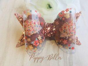 Handmade floral hedgehog   hair bow baby/girls clip or headband