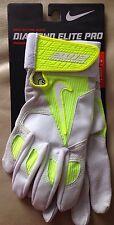 Nike Diamond Elite Pro Batting Gloves White/Volt Size: Adult S GB0335NWT $45