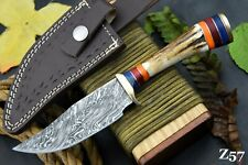 Custom Damascus Steel Hunting Knife Handmade With Stag Horn Handle (Z57)