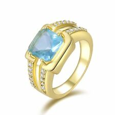 Wedding Jewellry Luxury Aquamarine 18K Gold Filled Mens Emerald Cut Ring Size 8