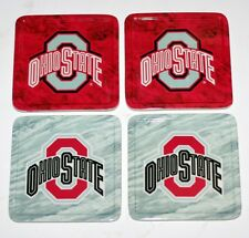 NCAA Collegiate Sports OHIO STATE BUCKEYES Natural Bamboo COASTER SET 4 Pcs. New