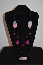 Stunning Pink & Black Agate Necklace