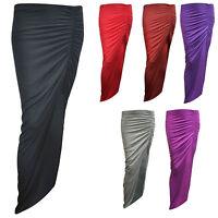 Ladies Celeb Skirt Womens Ruched Side Split Slit Maxi Gypsy Long Stretch Dress