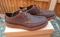 Mens Clarks Shoes Vargo Vibe Casual Deck Shoes Dark Brown Leather UK 9.5 BNIB