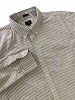 Mens J Crew Oxford Cloth Slim Shirt XL Blue Stripe Long Sleeve Button Down OCBD