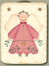 Pink Angel Hand-stenciled Slate