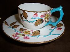 Royal Worcester VERY RARE Floral Embossed Trembleuse Cup & Saucer c. pre-1883