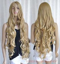 "35"" Long Golden Blonde Spiral Wavy Cosplay Hair Wig 24#"