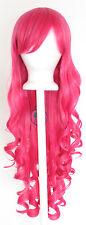 29'' Long Curly w/ Long Bangs Deep Pink Cosplay Wig NEW