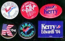 6  pinback John KERRY 2004 campaign Pin John Edwards LOGO button