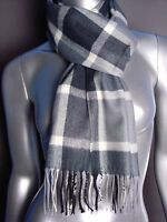 CLASSIC Warm Soft Gray Plaid CASHMERE TOUCH 100% Acrylic Scarf
