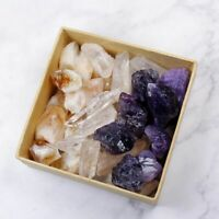 3-Color Crystal Collection 250g Lot Natural Points Amethyst Citrine Clear Quartz