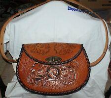 Vtg Antique Estate Handmade Tooled Leather Arts Crafts Western Floral Purse