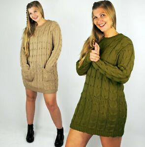 LADIES KNITTED MINI JUMPER DRESS CABLE KNIT SWEATER DRESS W POCKETS CAMEL 12 16
