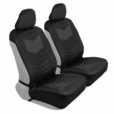Car Sideless Seat Covers Motor Trend Charcoal PU Leather Front Set Truck SUV Van
