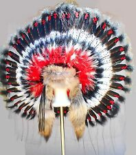 Genuine Native American Navajo Indian Headdress CHIEF TRADITIONAL coyote tails