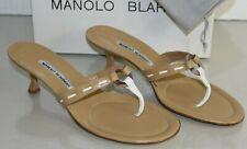 NEW Manolo Blahnik CREZA Slide Kitten Heels Thong Sandals Camel Mules Leather 42