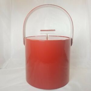 Vintage Georges Briard Ice Bucket Patent Red Lucite Handle Signed ♡VALENTINE♡