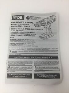 Ryobi Operator Manual for 18V 1/2 in. 2-Speed Still-Drill Driver P271