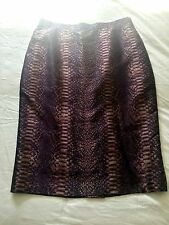 ESCADA Eggplant, Copper, & Black Snakeskin Print Knee-Length Skirt NWOT Size 42