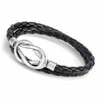 Genuine Black Brown Leather Double Wrap Braided Wristband Bracelets 049USANNA