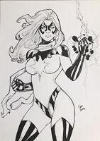 "Ms. Marvel (9""x12"") Original Art Comic Sexy Pinup By H Ricardo - Ed Benes Studio"