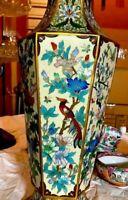 """Rare Large 18"""" Five Sided Antique Cloisonne Enameled Vase - Gorgeous Colors!"""