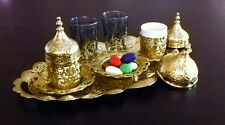Turkish Coffee Set: Cups Delight Bowl Tray Porcelain Glass Gold / Silver Colour