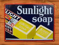 "TIN-UPS TIN SIGN ""Sunlight Soap"" Advertisement Bath Wall Decor"