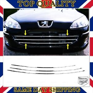 Chrome Front Grill 3 pcs S.STEEL For Peugeot 407 Saloon-Estate-Coupe 2004-UP