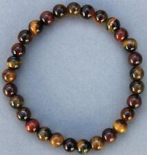 """Bracelet 3 oeil : Oeil de tigre/Faucon/Taureau 6 mm """"Large"""""""