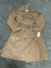 Michael Kors Notch Lapel TRENCH Coat DARK CAMEL TAN BROWN double breasted size S