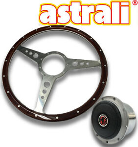 "MG Midget and MGB 14""  Astrali wood and alloy Steering wheel with polished  hub"