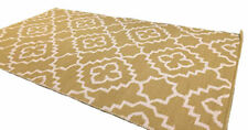 Alhambara Mustard Gold White Living Room Rug Wool Reversible  Kilim