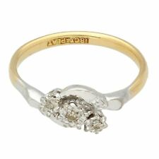 Vintage 18Ct Yellow Gold & Platinum 0.10ct Diamond Three-Stone Ring (Size L 1/2)