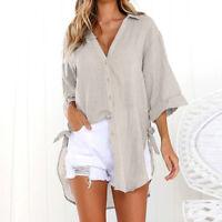 Women Lady Long Blouse Shirts V-Neck Loose Tunic Cotton Shirt Tops Plus Size VP