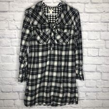 J. Crew Black Plaid Flannel Shirt Dress with Pockets size S