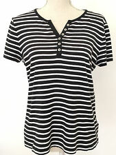Croft & Barrow Women's Large Short Sleeve V-Neck Top Black White Striped