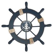 28*28cm Wooden Nautical Beach Boat Ship Steering Wheel Fishing Net Shell Decor