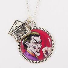 JOKER CHARM NECKLACE batman emo scene dc super hero 80s retro comic kitsch card