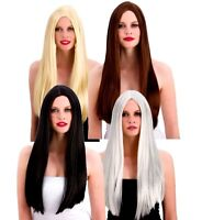 Adult Deluxe Silky Long WIGS Silver Brown Black Blonde 24 inches cut to size