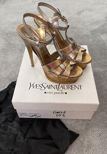 YSL Yves Saint Laurent Gold Tribute 105 High Heels EU 39 UK 6