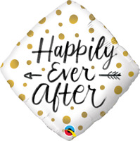 "HAPPILY EVER AFTER DIAMOND FOIL BALLOON 18"" QUALATEX FOIL BALLOON"