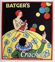 """Batger's 30-40's Art Deco English Label for """"Crackers"""" Poppers w/ Pretty Woman *"""