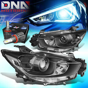 FOR 2013-2016 MAZDA CX5 BLACK/CLEAR PROJECTOR HEADLIGHT LAMPS W/LED KIT+COOL FAN