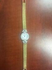 14k yellow gold diamond ladies geneve quartz watch