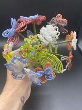 Vintage French Glass Bead Flower Bouquet EUC
